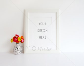 Frame Mockup, White Frame and Vase Mockup, lifestyle photography frame, Styled Stock Photography, A4 Portrait Frame Mockup, Digital Download