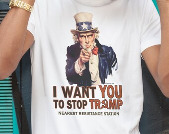 I Want You To Stop Trump | Men's Unisex Uncle Sam Resistance Poster T-Shirt | Political T-Shirt and Clothing