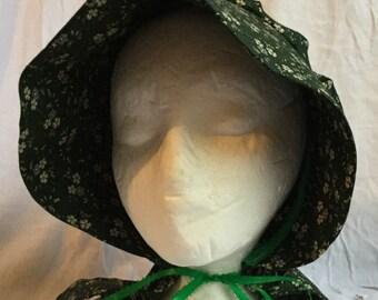 Green Floral Prairie Sun Bonnet