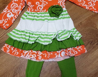Sale! Sale! Girls Orange and Green Ruffle Outfit with Matching Headband