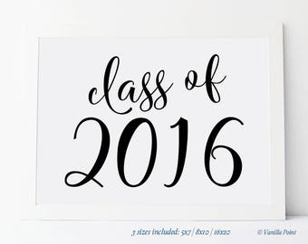 Printable Class Of 2016 Sign, Class Reunion Decorations, Reunion Party Supplies, Reunion Party Centerpieces, High School Reunion Rustic Sign