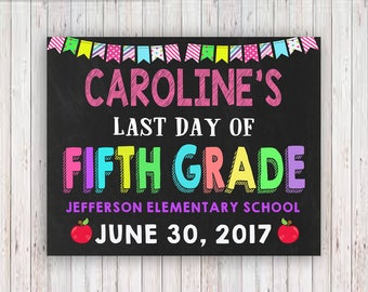 Last Day of School Sign, Last Day of School Chalkboard Sign, Last Day of Fifth Grade Sign, ANY GRADE School Photo, Printable, Personalized