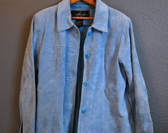 Women's Blue Suede Jacket - Atelier by B. Thomas - Medium