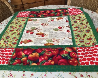 Apple Pie Recipe Patchwork Quilted Table Topper or Wall Hanging