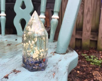 """The """"Poet's"""" Crystal - Baby's Breath and Sodalite Resin Crystal"""