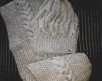 Ladies Silver Grey Cabled pom pom chunky hat and scarf set