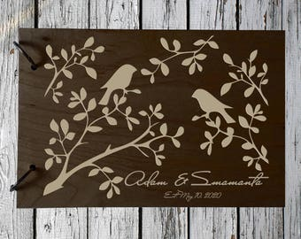 Wedding GuestBook Engraved Wood GuestBook Wedding Gift Personalized GuestBook Birds GuestBook Couples Guest Book Rustik GuestBook Wooden