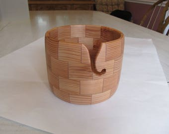 Large segmented wood knitting bowl