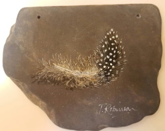 Guineafowl Feather on Reclaimed Welsh Slate