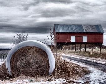 Red Barn Photography, Barn Photography, Barn Photograph, Winter Barn Picture, Rural Photography, Rustic Barn Photo, Farm Photography, Barn
