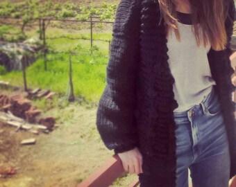 Cardigan Chunky Knitwear, Black Wool Cardigan, Oversized Knitwear, Cosy Chic Knitwear
