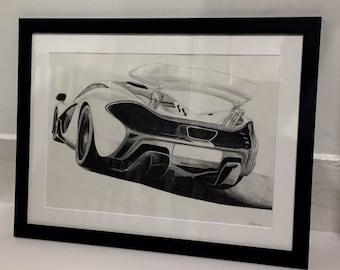 Mclaren P1 Hand-drawn original/ drawing, A3, Wooden Framed, not a print.