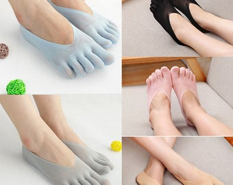 Comfortable, Useful, Soft, Low Cut, Five (5) Toe Socks; Spandex-Polyester, One Size Fits Most; For Women.