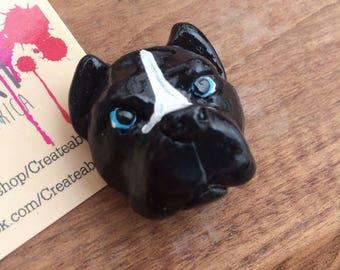 Pit bull magnet, black & white pit bull magnet, bully dog lover gift, pit bull art