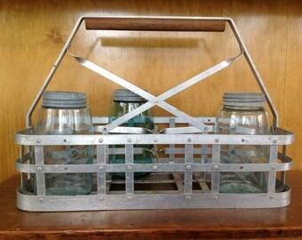 Antique Metal Milk Bottle Carrier with Wood Handle