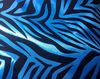 Blue taffeta zebra print fabric
