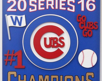Chicago Cubs Baseball Sports sign Chicago Cubs 2016 Champions wooden sports fan sign Cubs teen sports room sports fan sign Chicago Cubs