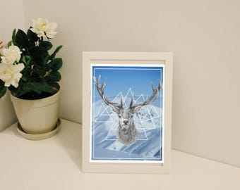 Deer Stag Mountain New Zealand Digital Art Print