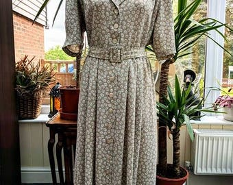 Grey & Blue Flower 1940's Dress