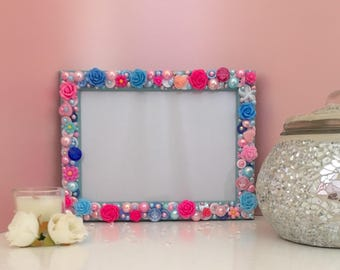 Handmade Photo Frame Embellished In Buttons & Pearls, Pink/Blue, 5x7