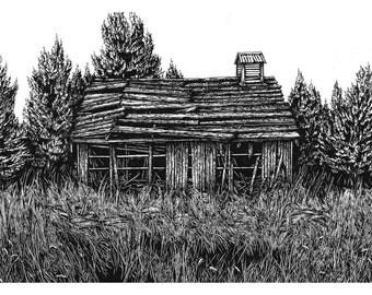"""Oregon Supply Cabin   9x6"""" giclée"""
