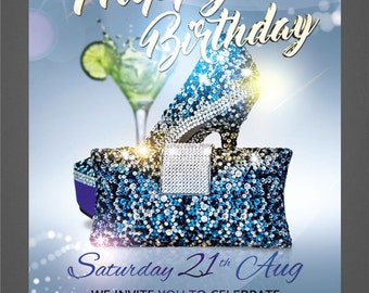 PRINT Birthday Flyer template design for your event party. Birthday printable, Professional Flyer Design, Includes Web design, Custom Flyer