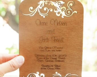 Cut Wood Wedding Invitations, 100 cards, FREE SHIPPING!