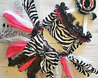 Zebra and Hot Pink Top or Tutu Outfit, Smash Cake Outfit, Hot Pink Tutu, 1st Birthday Outfit, Pink Tutu, Zebra Headband, Poupee Stitch