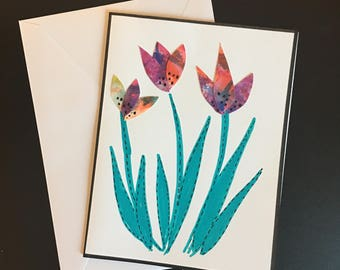 Spring Tulips- Handmade, hand painted , blank greeting card