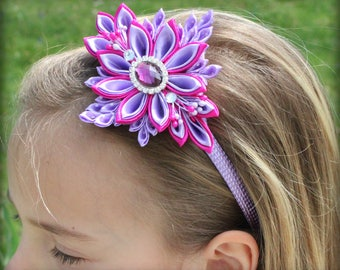 Kanzashi Flower,Royal Burgundy, Satin Headband, Girls Headband, Wedding Hairband, Party, Royal Baby,Royal Hair Accessories,Baby Headband