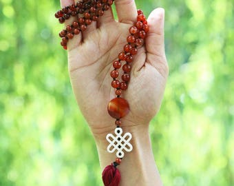 """Red carnelian, jasper mala necklace - 30"""" inches long - Tibetain endless knot"""