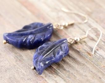 Blue feather sodalite gemstone silver earrings