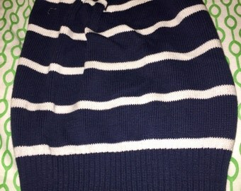 One of a kind beanie - navy with white stripes