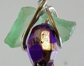 green sea glass withgrape like glass bead