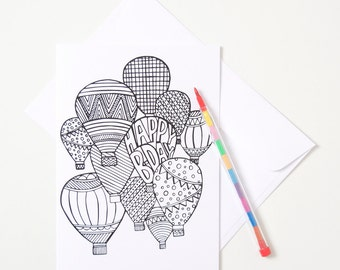 Greeting Card - Colour In / Balloons