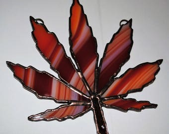 Limited edition stained glass marijuanna sun catcher