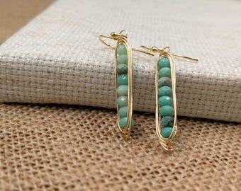 Wire-wrapped stone earrings