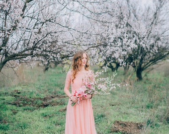 Peach wedding dress, bohemian lace dress, vintage, non-corset, bridal