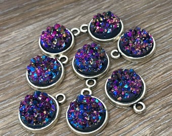 Galaxy Purple Rainbow Faux Druzy Chunky 12mm Cabochons (Gold, Silver, or Bronze) Pendants - 10pcs