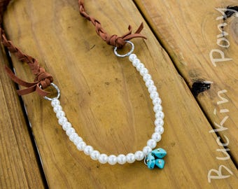 Pearls and turquoise with braided leather necklace