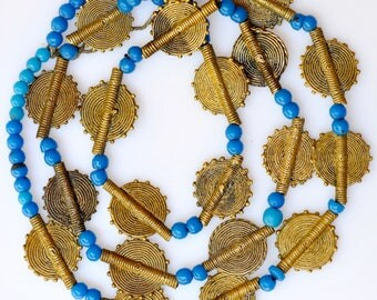 32 Inch Strand of Baule Bronze Beads & Venetian Glass Beads - Vintage African Trade Beads - Baule10