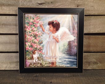 Religious Picture angel, kittens and floral print country primitive farmhouse Wall hanging art Decor