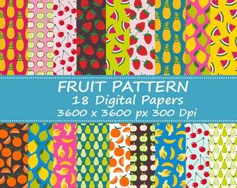 Digital Scrapbook Paper Pack - Fruit Patterns - Instant Download