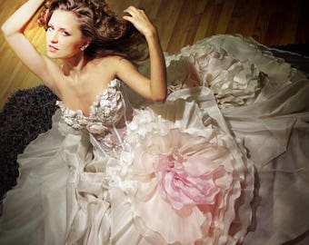 Ball Gown Silk Wedding dress. Princess Bridal Dress. Fluffy Wedding Gown. Sweatheart Bridal Gown. Lace Corset.