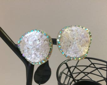 Sparkly White Shell Vintage Earrings with Iridescent Rhinestones