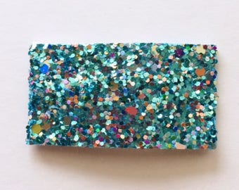 Mermaid tears mutli glitter snap clip AND/OR alligator clip- teal
