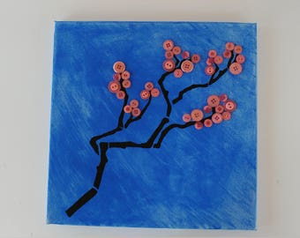 Pink Cherry Blossom / Button Tree Branch / Home Decor