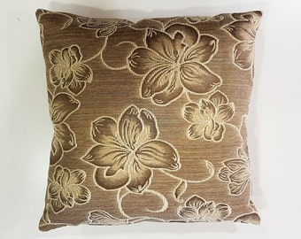 Floral Pillow Covers, Euro Brown Pillow Cover 14x14 inch, Throw Pillow Cover Case, Decorative Pillow, Accent Pillow Cover, Home Decor Gift