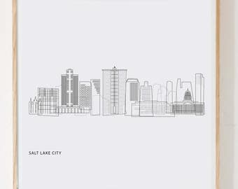Salt Lake print Salt Lake City art SLC skyline PDF instant download digital download black and white art modern minimalist downtown SLC