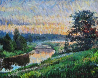 Sunset, Oil Painting, Landscape Painting, Original, Canvas Panel, Impressionism, River, Trees